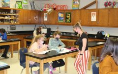 Mrs. Cole teaching her 7th Grade science students.
